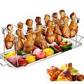 Suncatchers 2PCS Grill Baskets Chicken Wing Leg Rack Grill Holder BBQ Chicken Wing/Leg Rack & Drip Pan 14 Slots Stainless Steel Roaster Stand Drumsticks Rack for Smoker Grill Or Oven (Color : Silver)