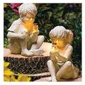 Garden Statue Jar Boy Girl Statue Kids with Solar Fireflies Garden Statue Resin Jar Boy Girl Statue Whimsical Flowerbed Sculpture Decor for Yard Outdoor Sculpture