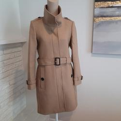 Burberry Jackets & Coats | Burberry Gibbsmoore Funnel Collar Wool Coat Camel | Color: Tan | Size: 4