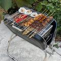 "Xueliee Charcoal Grill Collapsible And Portable Handle Design BBQ Grill For Outdoor BBQ, Stainless Steel in Black, Size 26""H X 23""W X 17""D"