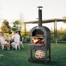 Esright Steel Freestanding Wood-Fired Pizza Oven in Black Steel in Black/Brown/Gray, Size 63.38 H x 19.5 W x 14.5 D in | Wayfair 16154BK-W03