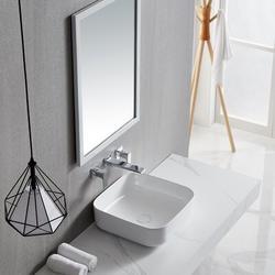 JGZ Ceramic Square Vessel Sink Above CounterBathroom Vanity Sink Bathroom Sink Art Basin in White, Size 5.32 H x 15.36 W x 15.36 D in   Wayfair