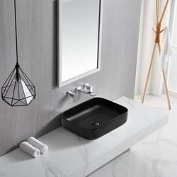 JGZ Ceramic Rectangular Vessel Sink Above Counter White Bathroom Vanity Sink Bathroom Sink Art Basin in Black | Wayfair JG32531