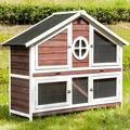 """Tucker Murphy™ Pet Rabbit Hutch Wood House ChicksCoop Pet Cage For Small Animals in Red, Size 43""""H X 56""""W X 18""""D 