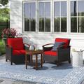 Lark Manor™ Quarterman 3pcs Patio Wicker Rattan Conversation Set Outdoor Furniture Set W/Red Cushion Wood/Natural Hardwoods/Wicker/Rattan | Wayfair