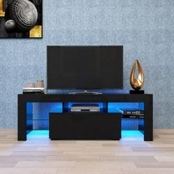Ivy Bronx Entertainment TV Stand, Large TV Stand TV Base Stand w/ LED Color Changing Lamp TV Cabinet Wood/Glass in Black   Wayfair