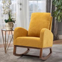 Corrigan Studio® Esra Rocking Chair Glider Upholstered/Polyester or Polyester Blend/Fabric in Yellow, Size 39.76 H x 27.16 W x 37.0 D in | Wayfair