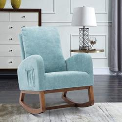 Corrigan Studio® Esra Rocking Chair Glider Upholstered/Polyester or Polyester Blend/Fabric in Blue, Size 39.76 H x 27.16 W x 37.0 D in | Wayfair