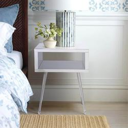 Everly Quinn MIRROR END TABLE MIRROR NIGHTSTAND END&SIDE TABLEWood in Gray, Size 23.2 H x 17.9 W x 15.1 D in | Wayfair
