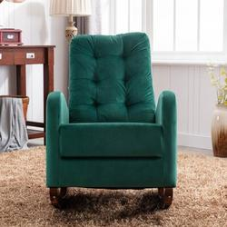 Isabelle & Max™ Rocking Chair Glider w/ Comfortable Cushion Velvet in Green, Size 37.8 H x 40.55 W x 25.59 D in | Wayfair