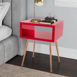 Everly Quinn MIRROR END TABLE MIRROR NIGHTSTAND END&SIDE TABLEWood in Red/Brown, Size 23.2 H x 17.9 W x 15.1 D in | Wayfair