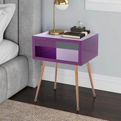 Everly Quinn MIRROR END TABLE MIRROR NIGHTSTAND END&SIDE TABLEWood in Brown, Size 23.2 H x 17.9 W x 15.1 D in | Wayfair