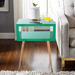 Everly Quinn MIRROR END TABLE MIRROR NIGHTSTAND END&SIDE TABLEWood in Green/Brown, Size 23.2 H x 17.9 W x 15.1 D in   Wayfair