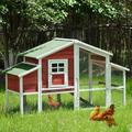"""Tucker Murphy™ Pet Chicken Coop Rabbit House Wooden Small Animal Cage Bunny Hutch w/ Ramp & Tray in Red/White, Size 46""""H X 77""""W X 29""""D 