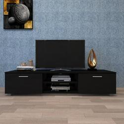 Latitude Run® Black TV Stand For 70 Inch TV Stands, Media Console Entertainment Center Television Table in Black/Brown | Wayfair