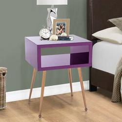 Everly Quinn Noyola End Table w/ StoragePlastic/Acrylic/Stainless Steel in Brown, Size 23.0 H x 18.0 W x 15.0 D in | Wayfair