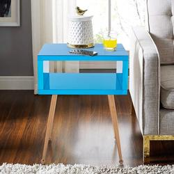 Everly Quinn Noyola End Table w/ StoragePlastic/Acrylic/Stainless Steel in Blue/Brown, Size 23.0 H x 18.0 W x 15.0 D in | Wayfair