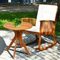 Lark Manor™ Gritton 2pcs Patio Rocking Chair Set Round Table Solid Wood Cushioned Sofa Garden Deck Wood/Natural Hardwoods in Brown/White | Wayfair