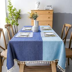 Gracie Oaks Aerielle Linen TableclothLinen in Blue/Gray, Size 71.0 W x 55.0 D in | Wayfair E34693F6D8FD40D483318029BF865A92