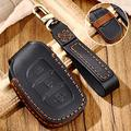 Hacreyatu Key Fob Cover Case Remote Holder Skin Protector for Hyundai Creta I10 I20 Tucson Elantra Santa Fe IX20 IX25 IX30 IX35 IX45 Accent 3 Buttons Leather Key Chain (Black, Type B)