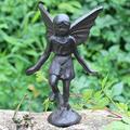 QULONG Cast Iron Playful Fairy Garden Statue Angel Pixie Winged Girl Figure Outdoor Garden Sculpture