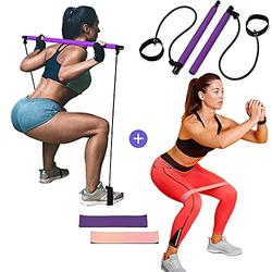 FitTogether 2021 Upgrade Pilates Bar Kit with 2 Resistance Bands – Home Yoga Pilates Bar Kit for Body Shaping – Gym at Home for Women – Ideal for Fitness, Gym, Home Workout Equipment (Purple)