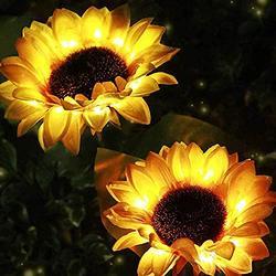 Garden Solar Sunflower Stake Lights,Outdoor Decorative Solar Lights,Solar Powered Pathway Flower Lights LED Solar Lights Waterproof Landscape Lights for Lawn Patio Yard Decor (C/2PC/Sunflower)