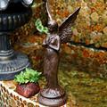 QULONG Vintage Cast Iron Prayer Angel On Base,Cherub Pixie Wings Standing Fairy Garden Statue Ornaments