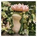 showyow Fun Frog Garden Statues Ornaments, Bird Feeder Station,Bird Bath Decoration Frog Sculpture,Garden Landscape Statue for Courtyard, Ponds