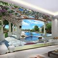 Custom Modern Mural Wallpaper Villa Swimming Pool Garden Wall Mural Photo Wallpaper for Walls Wallpaper Home Decor,200(W)140(H)cm