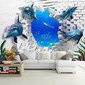 Custom Mural Wallpaper 3D Stereo Dolphins Broken Wall Paper for Kids Bedroom Living Room 3D Room Landscape Wall Mural,350(W)256(H)cm