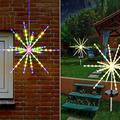 Firework String Lights Outdoor LED Fireworks Decorative Lights Led Copper Wire Fireworks Lights Hanging Starburst Lights Battery Operated | Solar Firework Lights Outdoor with Stakes by Solar Operated