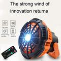 ZWMBYN Portable Camping Fan with LED Light, 5200 mAh Rechargeable Camping lamp Fan with Hanging Hook, 180 ° Head Rotation USB Charging Input Fan with Remote Control for Tents