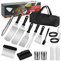 Jesdoo Grilling Accessories BBQ Grill Tools Set,15 Pcs Griddle Grill Tools Set for Blackstone and Camp Chef,Professional Stainless Steel Grilling Set,Great for Outdoor BBQ,Teppanyaki and Camping
