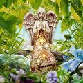 KLML LED Angel Statue Resin Praying Angel, Angel Garden Figurine Outdoor Garden Statue, Solar Lights Angel Decorations for Home, Patio Lawn Yard Porch Decoration, Housewarming Garden Gift A