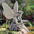FENGLISUSU Sunflower Sitting Fairy Statue,Angel Garden Sculpture Garden Bird Feeder Garden Elegant Fairy Sitting by The River Statue Ornament Resin Craft for Landscaping Garden Yard Decoration