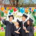 ORNOOU 84*60 Inches 2021 Happy Graduation Party Banner, Graduation Banner with Hawaiian Summer Tropical Flowers and Turtle Leaf Elements, for Graduation Season College Prom Banner Decoration