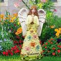 KLML LED Angel Statue Resin Praying Angel, Angel Garden Figurine Outdoor Garden Statue, Solar Lights Angel Decorations for Home, Patio Lawn Yard Porch Decoration, Housewarming Garden Gift B