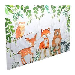 TOYANDONA Woodland Baby Shower Backdrop Banner Large Fabric Jungle Animal Birthday Party Decorations Woodland Creatures Forest Background for Boy Girl Welcome Party