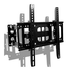 Full Motion TV Wall Mount TV Bracket Fits Most 26-55 Inch LED Flat&Curved TVs with Height Setting,Articulating Swivel Tilt Dual Arms Extension Max VESA 400x400mm and Holds, Up to 110 LBS