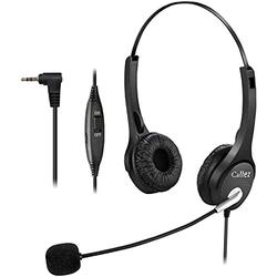 Callez 2.5mm Cordless Phone Headset Dual, Telephone Headsets with Noise Canceling Mic for DECT Phones Panasonic KX-TGE433B KX-TS880 AT&T ML17929 Vtech RCA Cisco Uniden Call Center Home Office(C402D3) (Renewed)
