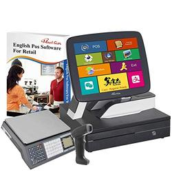 MEETSUN All in One POS System,Cash Register for Retail, Includes Touch Screen Cash Register,58MM Thermal Printer,Cash Drawer, Handhold Scanner,Cash Register Scale,Windows 10pro, POS Software