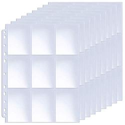 ABLY 120 Pages Double-Sided Trading Card Pages Sleeves 9-Pocket Clear Plastic Game Card Protectors for Skylanders, Pokemon, Baseball Cards and More, Fit 3 Ring Binder