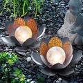 Garden Solar Light Outdoor, Amber Crackle Globe Glass Lotus Decoration, Waterproof Gray Metal LED Flower Lights for Patio,Lawn,Walkway,Tabletop,Ground (2 PCS)