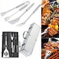 BBQ Tools 3 Pieces BBQ Accessories ing Kits BBQ Tools BBQ Tool Set Meat fork BBQ BBQ Tongs Spatula with Carrying Case for Outdoor Camping Garden Home BBQ Cooking Tools - Ribbon