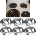(7 Days Only!!) 6 Pack Replacement Chrome Drip Pans for Whir1-poo1,Electric Range Chrome Reflector Bowls With Locking Slot (6'') for W10196406-RW,3150246-RW And 3150246 Stove Burner Covers
