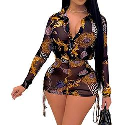 FairBeauty Women's Sexy Mesh Swimsuit Cover ups 2 Piece Outfits Solid Bikini Cover Up Summer Shorts Set