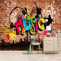 XiaoCha Graffiti Music Headphones Architecture 3D Wall Paper Wall Print Decal Wall Deco Indoor Wall Murals Removable Wall Mural | Self-Adhesive Large Wallpaper Wall Stickers Murals 132X94 Inches