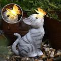 ZURITI Cat Statues Butterfly Solar Light Garden Decor, Garden Cat Statue, Outdoor Resin Statue Animal Sculpture, cat with Butterfly Garden Statue Outdoor Decorative Landscape Lights Solar Powered