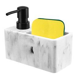 Lewondr Soap Dispenser Bottle with Sponge Compartment, 220ml/7.44oz Countertop Hand Lotion Pump Bottle, Resin Soap Dispenser with Marble Surface, Refillable Liquid Hand Sanitizer Bottle - White